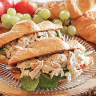 chicken salad sandwich on croissant
