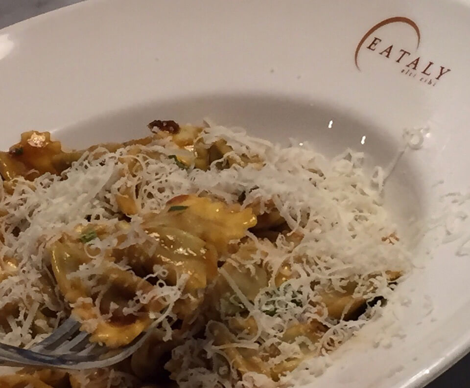 Jerry's lunch (Agnolotti del Plin con Sugo d'Aristo house made meat filled pasta with veal reduction) at Chicago's Eataly
