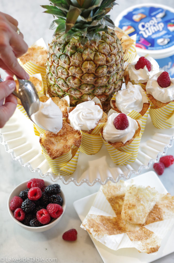 pineapple angel food cupcakes with topping and pineapple