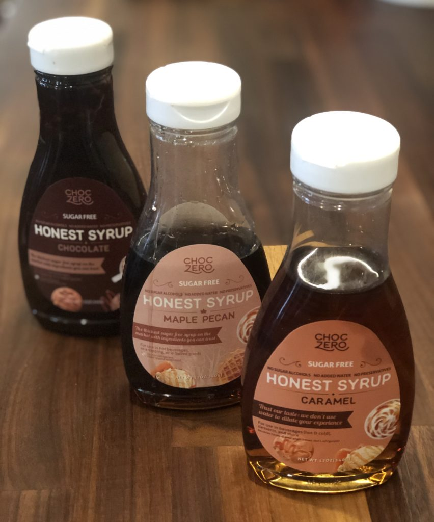 choc zero syrup in 3 flavors: pecan maple, chocolate and caramel