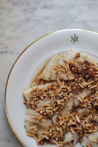 butter almond trout recipe on a plate