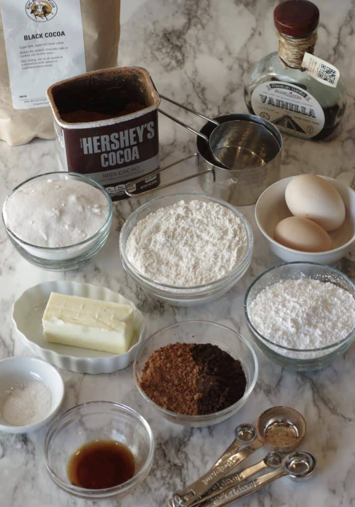All ingredients laid out for chocolate snowflake cookies