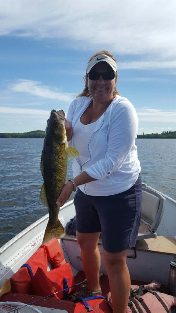 Wanda with a beautiful Walleye she caught