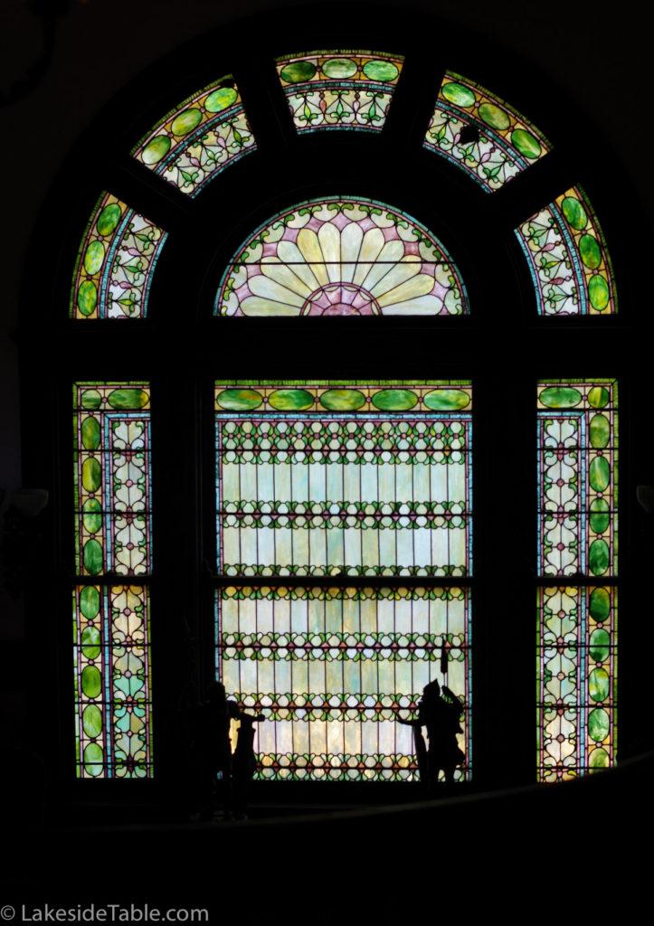 Tiffany window of Rockcliffe Mansion B&B   www.lakesidetable.com