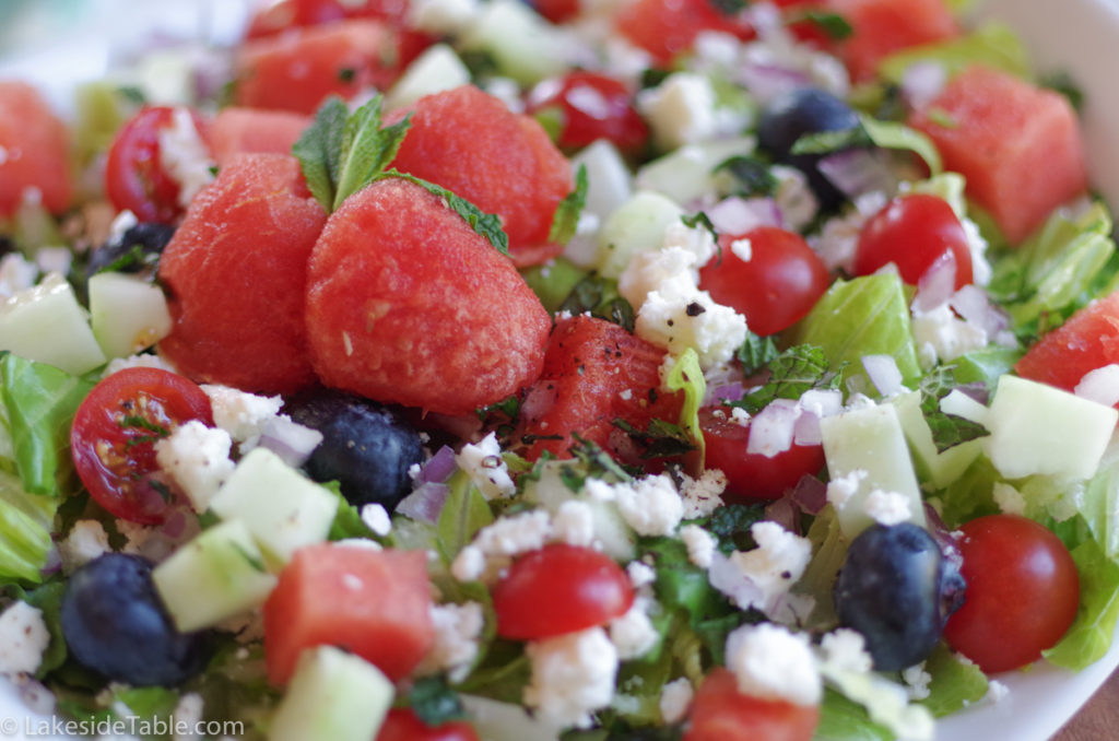 Blueberry watermelon salad recipe reminds me of Yellowstone National Park. Refreshing & Unexpected! | www.lakesidetable.com