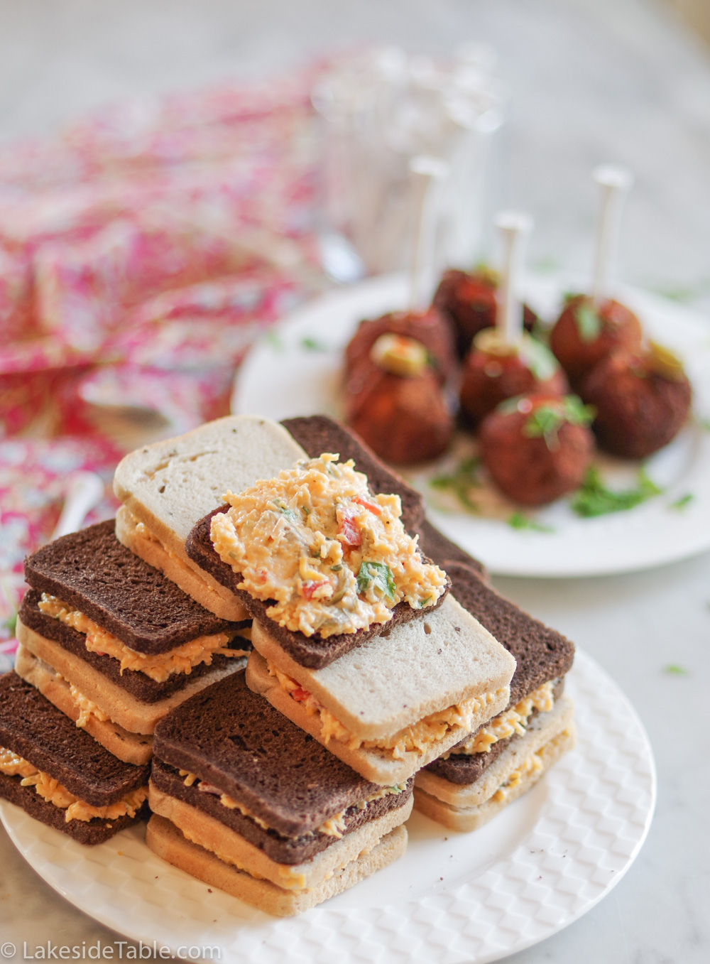 plate of pimento cheese sandwiches