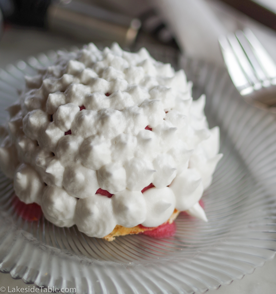 Ice Cream Bombe - this one I covered with white meringue, on a glass plate
