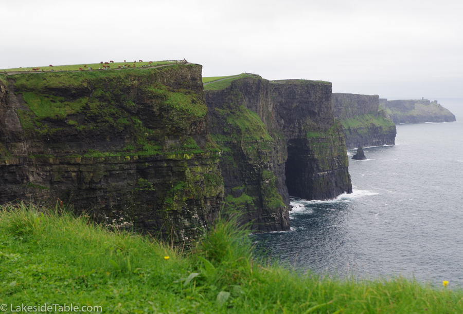 Ireland's Cliffs of Moher green grass and black cliffs jetting out of the sea