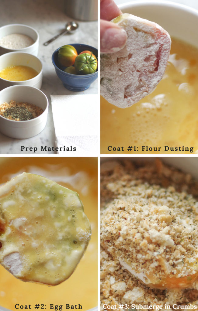 4 process shots of how to triple coat fried green tomatoes: prep, flour dusting, egg bath, and crumb coat