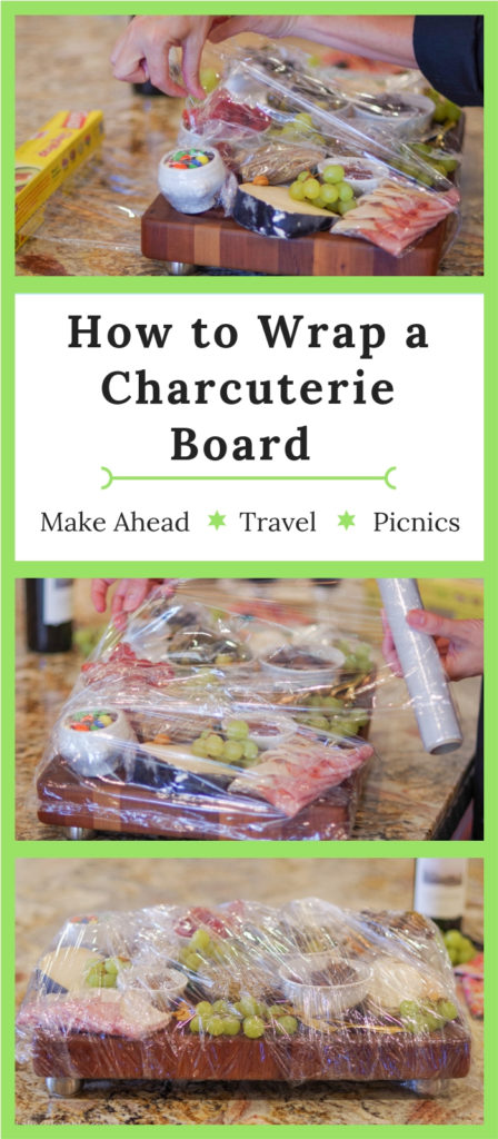 How to wrap a charcuterie board: Pinterest graphic showing 2 steps and final wrap