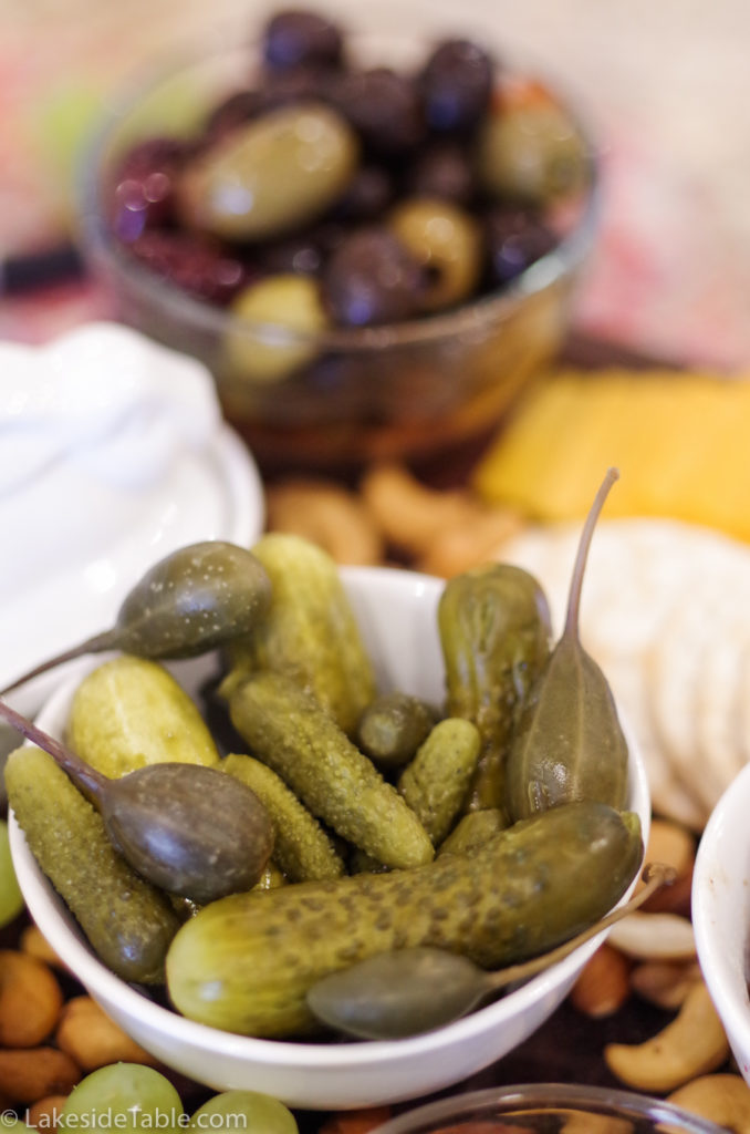 Mini pickles, cornichons, and caper berries