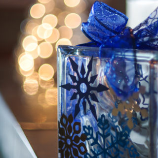 Firefly Grill decor blue glass block with snowflakes