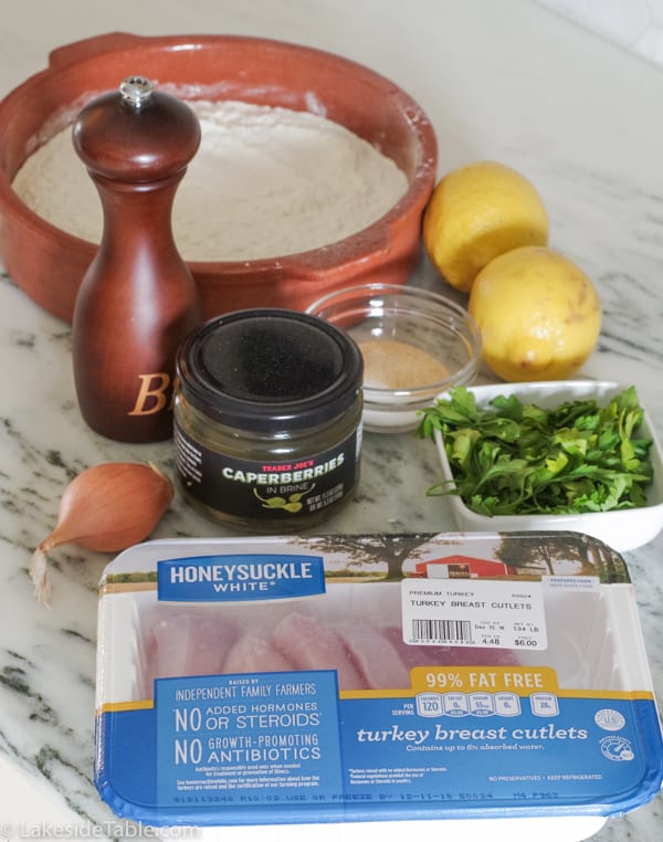 Turkey Piccata Ingredients set out