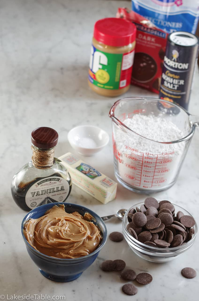 Ingredients for the buckeye candy recipe: powdered sugar, butter, salt, vanilla, peanut butter & chocolate
