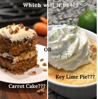 2 pictures side by side of carrot cake and key lime pie with whip cream