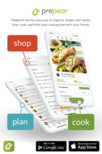 Prepear app shown on 3 iphones
