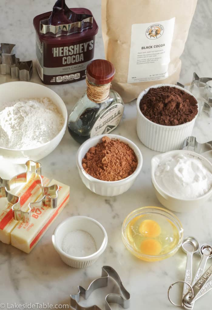 Ingredients for homemade oreo cookies