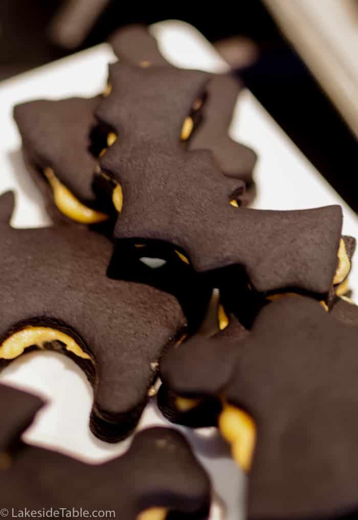 Homemade Chocolate Halloween Oreos as bats, cats and skulls