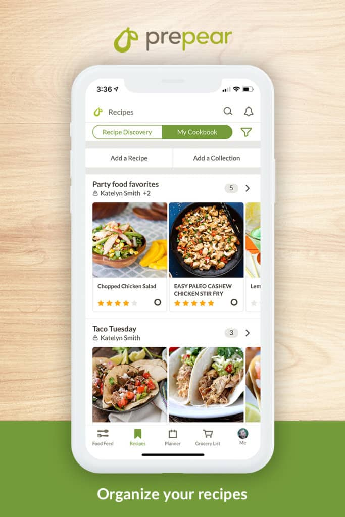 Prepear app showing how to organize recipes
