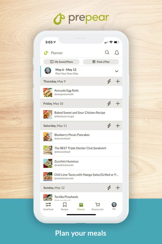 Prepear app showing how to meal plan recipes