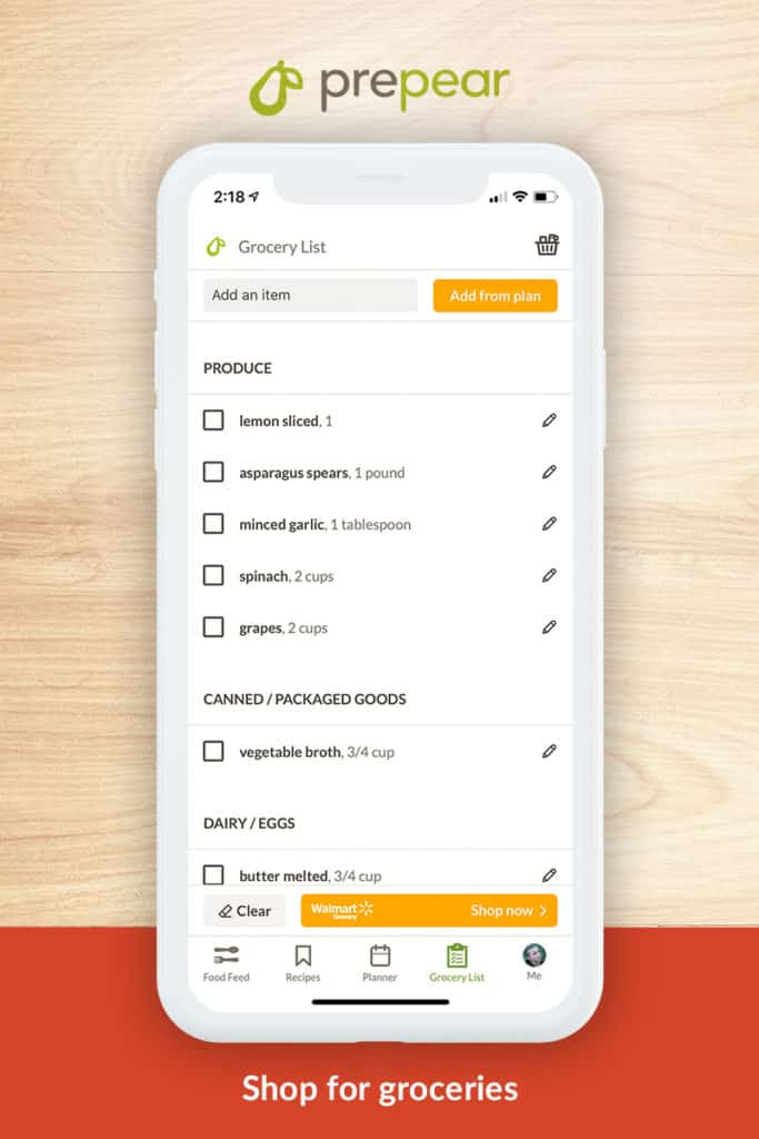Prepear shopping list shown on iphone