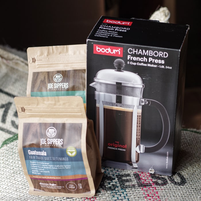 Here's what we're giving away: A French Press coffee maker and 2 bags of Joe Sippers coffee!