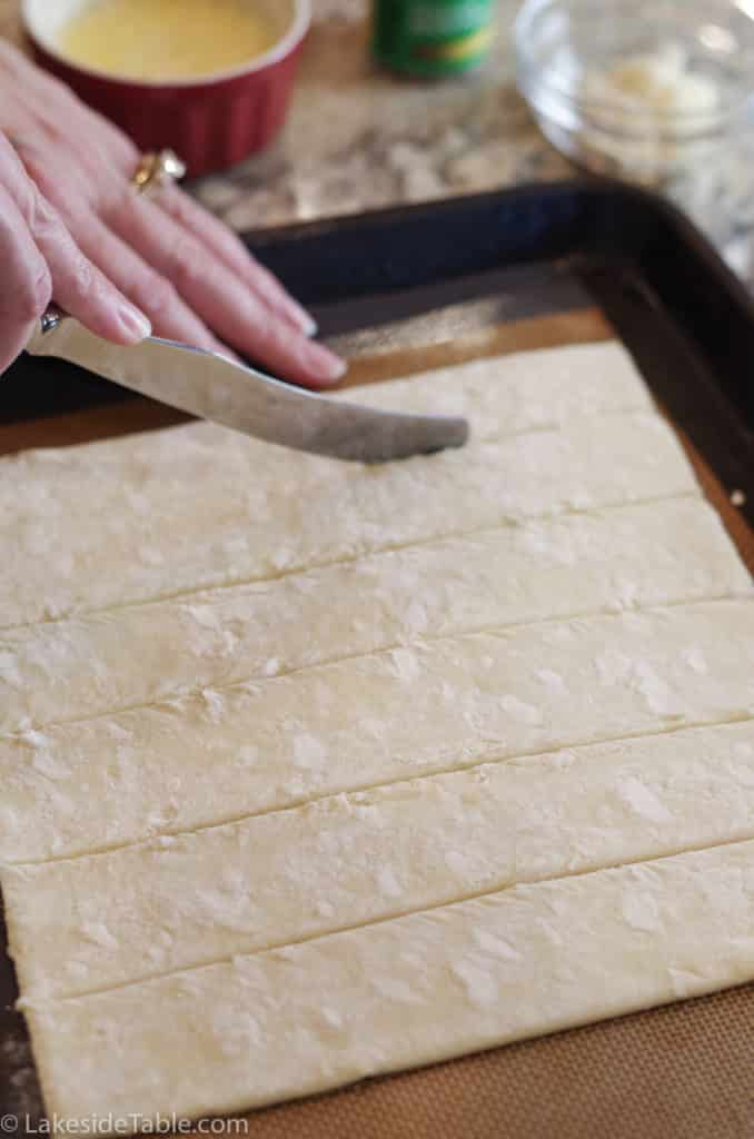 cutting puff pastry