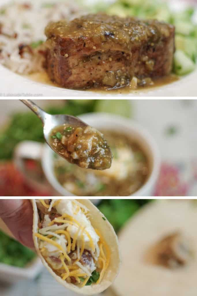 Pork Chili Verde 3 ways: as a meal, as a soup and as tacos