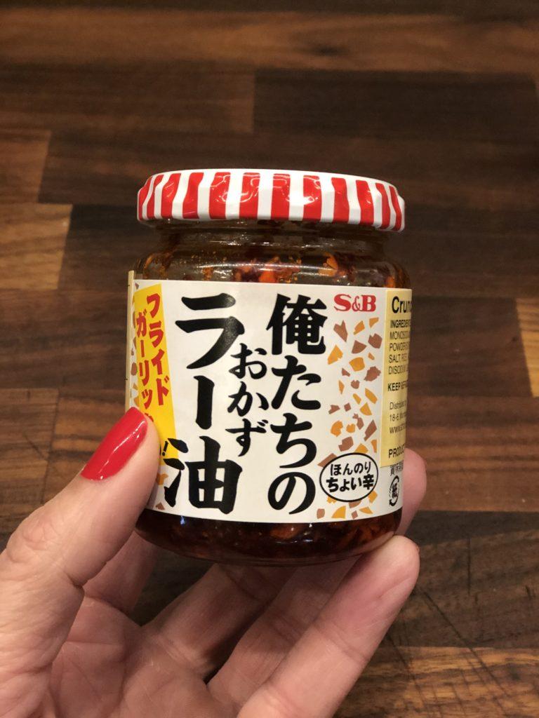 Jar of crunchy Asian garlic sauce