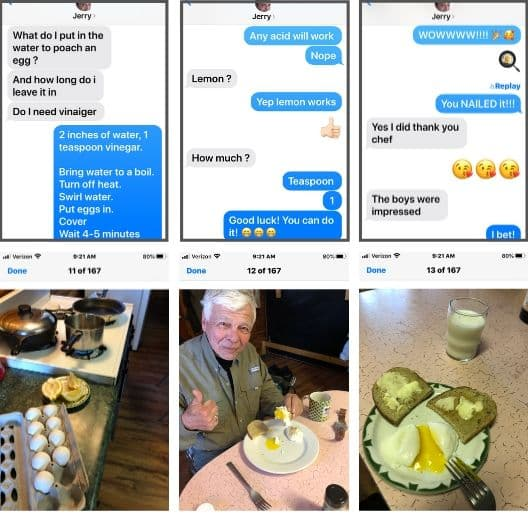text conversation and coordinating pictures of poaching egg