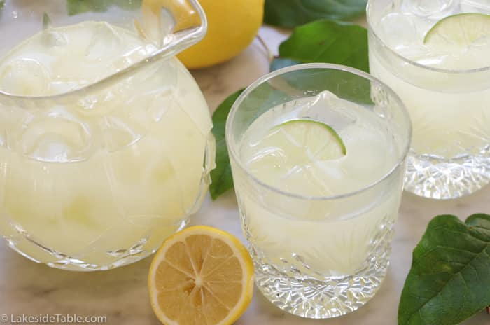 pitcher of lemonade with 2 glasses
