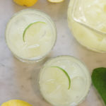 top down view of 2 glasses of lemonade