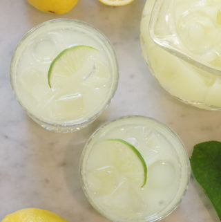 top down view of 2 glasses of lemonade
