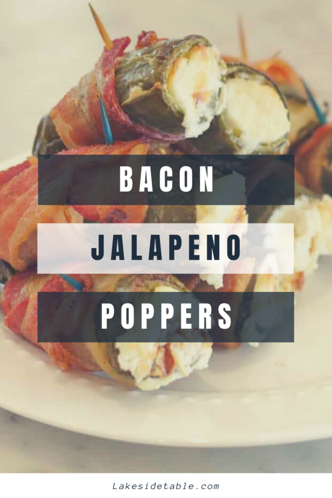Pickled poppers wrapped in bacon and stuffed with herb cream cheese! Yum!