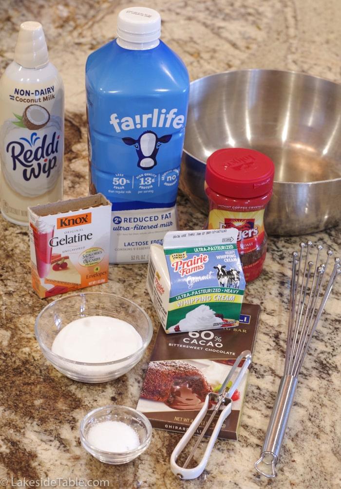 5 ingredients for espresso panna cotta: milk, cream, gelatin, sugar and powdered espresso