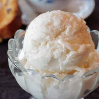 clear bowl of creamy white almond granita