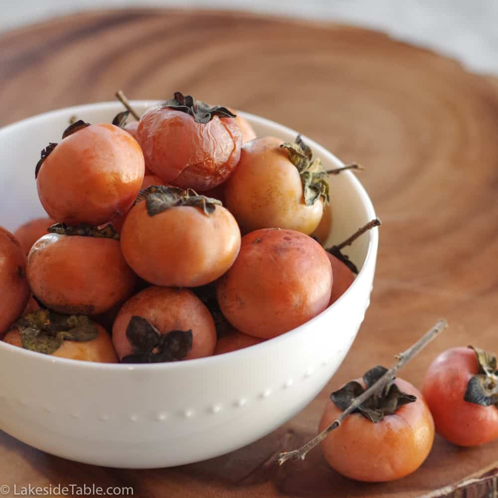 bowl of fresh persimmons for persimmon cookies