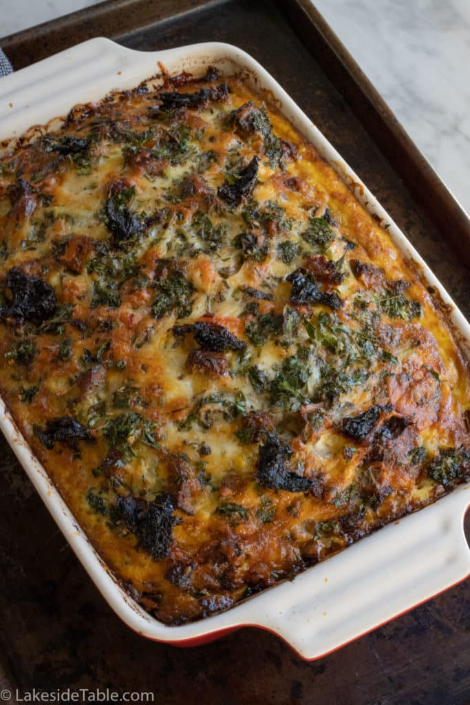 keto breakfast casserole right out of the oven