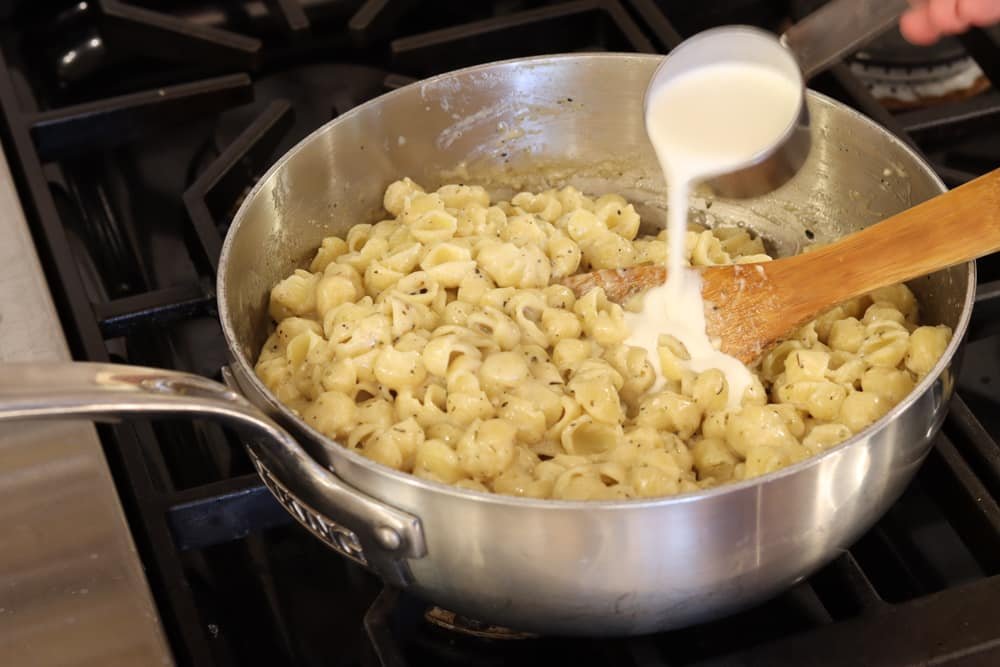 add heavy cream to adult mac and cheese sauce