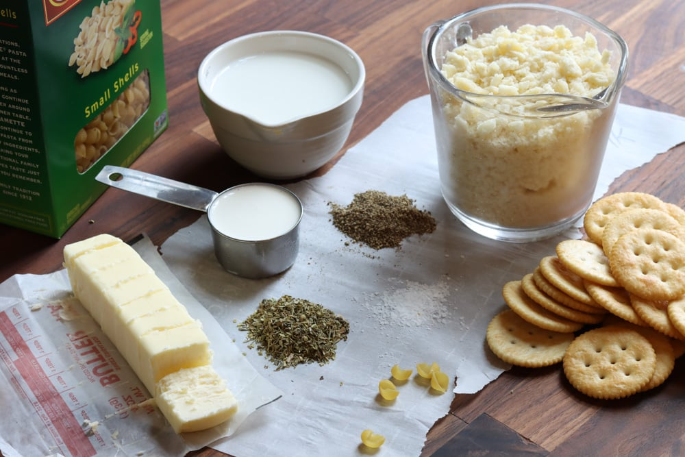 ingredients to adult mac and cheese cacio e pepe